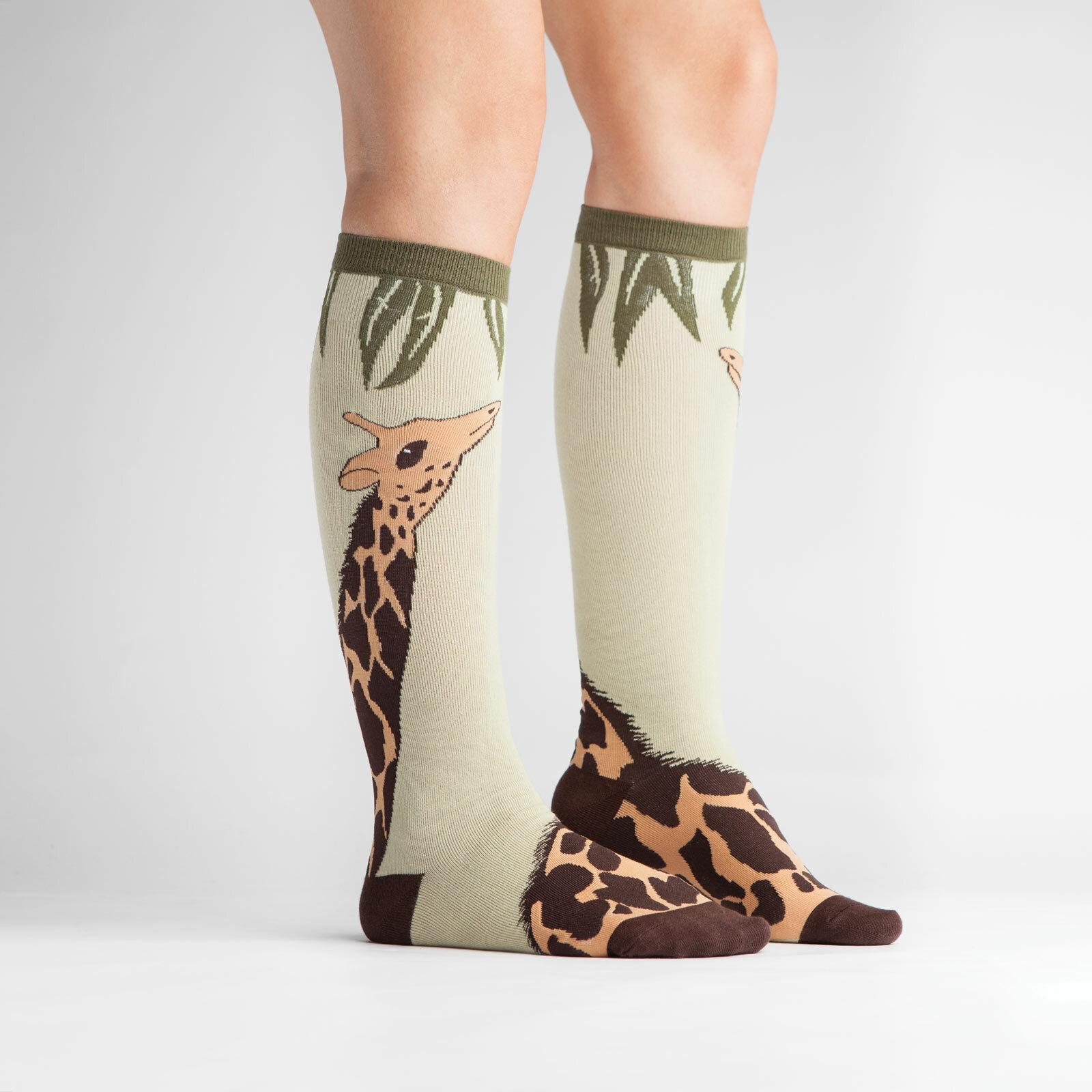 model side view of Giraffe Knee High Socks Brown and Green - Women's