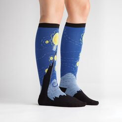 model side view of Starry Night Knee High Socks Blue and Black - Women's