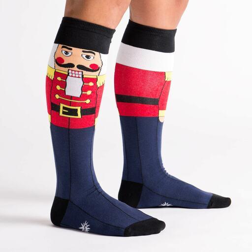 model side view of Nutcracker - Classic Holiday Wooden Nutcracker Soldier Knee High Socks Navy Blue - Women's