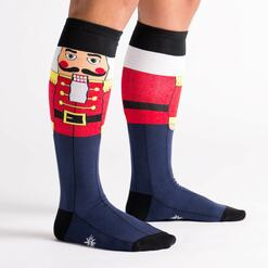 model side view of Nutcracker - Classic Holiday Wooden Nutcracker Soldier Knee High Socks Navy Blue - Women's