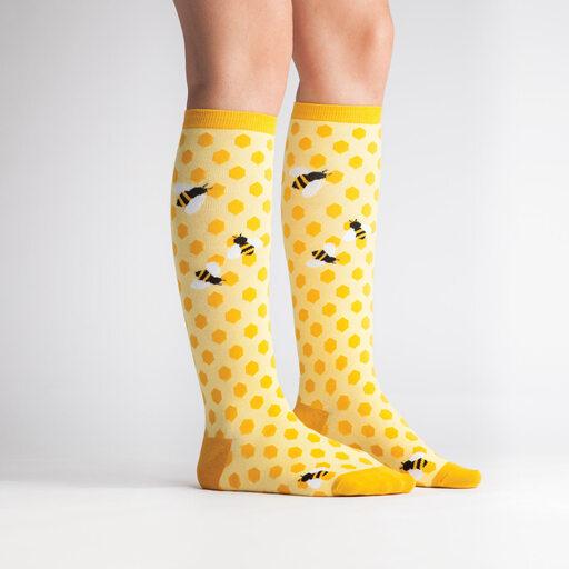 model side view of Bee's Knees - Bee Knee High Socks Yellow - Women's
