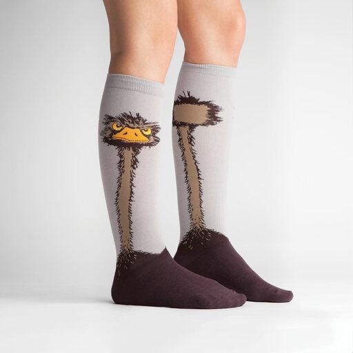 model side view of Ostrich Knee High Socks Grey - Women's