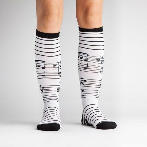 model wearing Footnotes - Music Knee High Socks - Women's