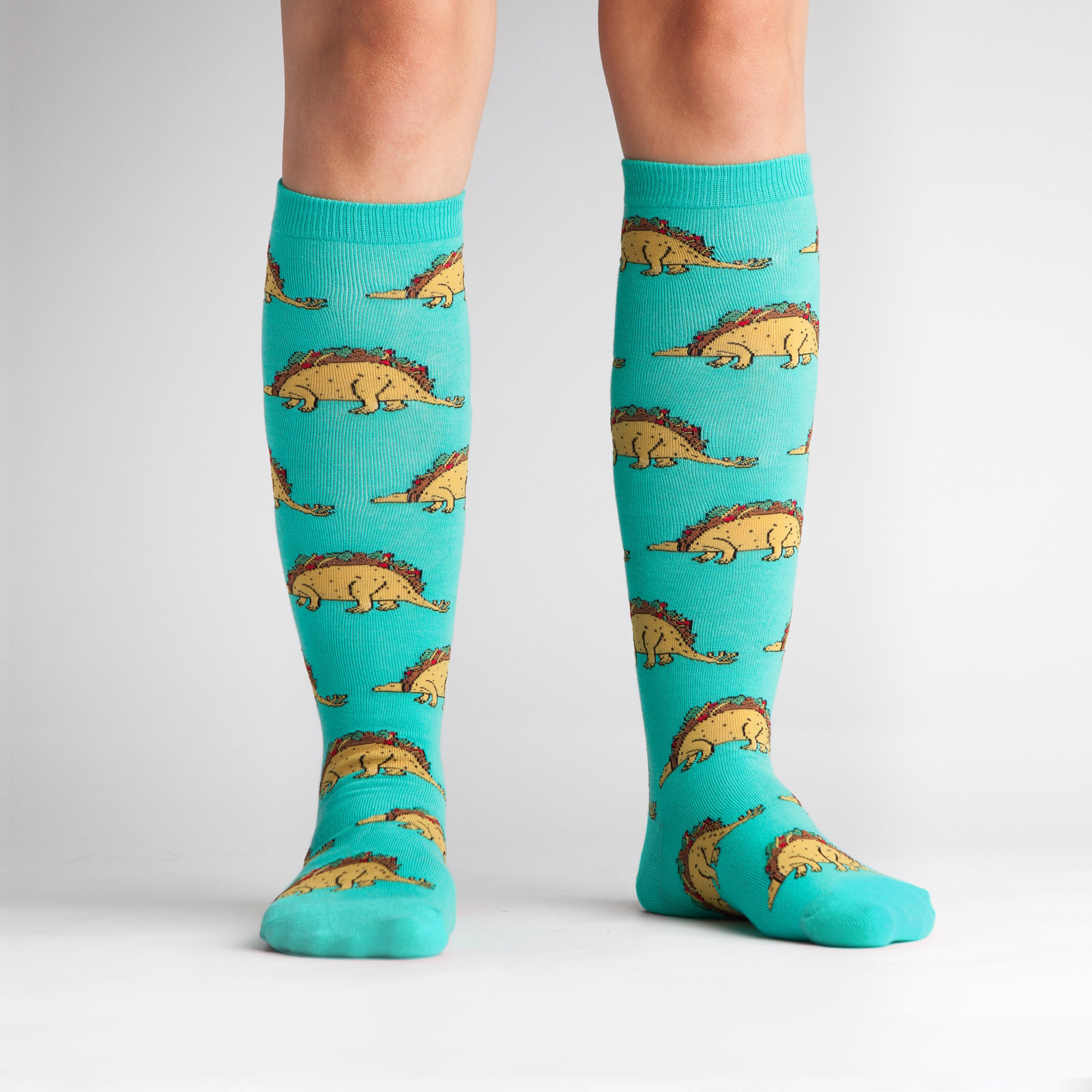 model wearing Tacosaurus Knee High Socks Turquoise- Women's