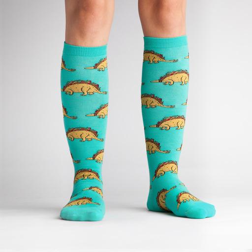 model wearing Tacosaurus Knee High Socks Turquoise- Women's