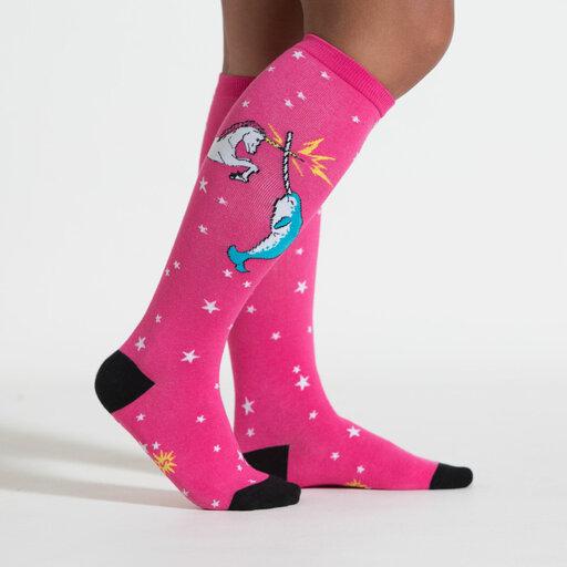 model side view of Unicorn vs. Narwhal Knee High Socks Pink - Women's