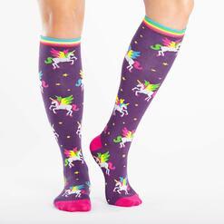 model wearing Winging It - Unicorn Knee High Socks - Women's