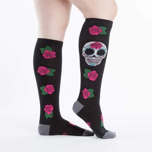 model side view of Sugar Skull Knee High Socks Black and Pink - Women's