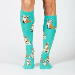 model wearing Foxes in Boxes - Fox Knee High Socks - Women's