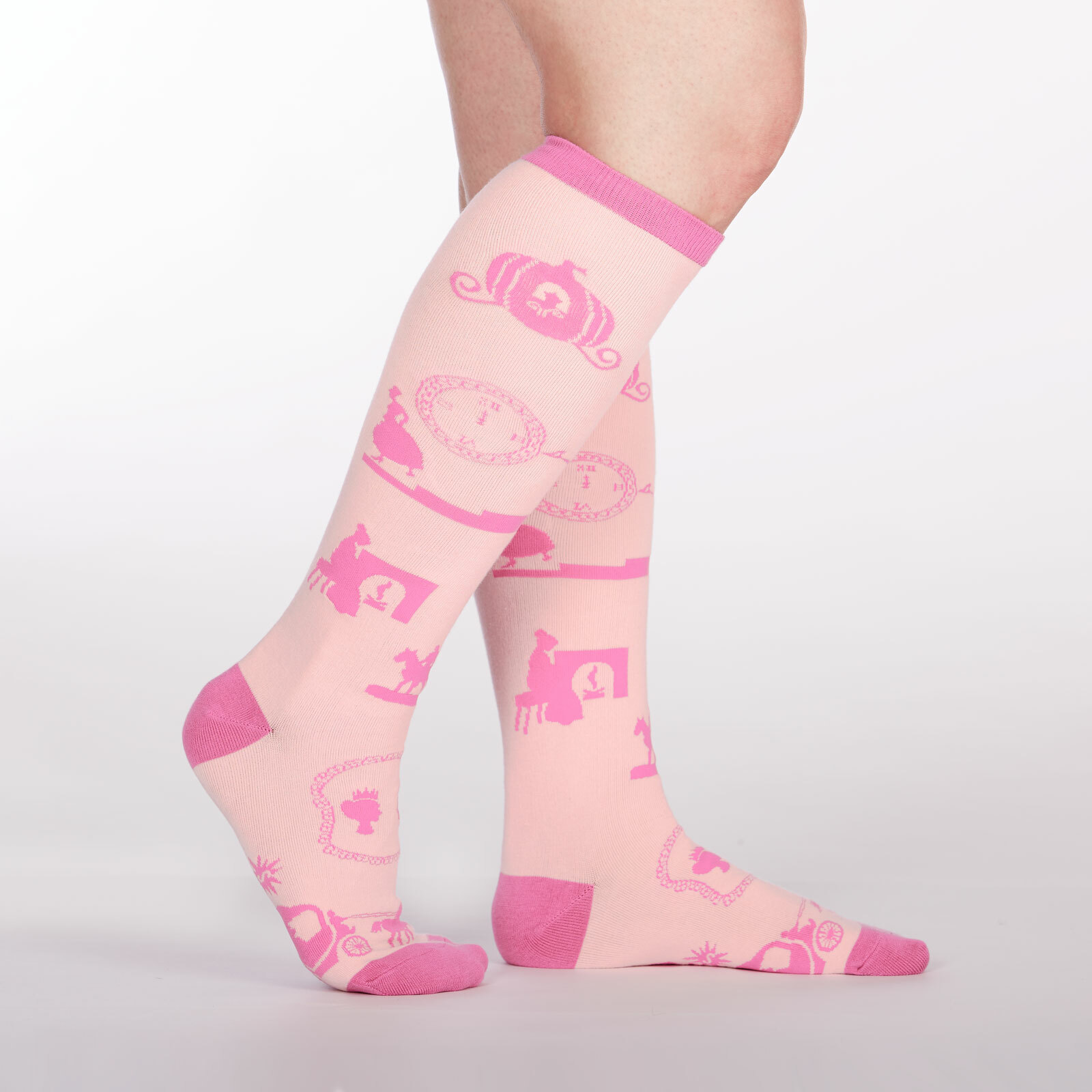 model side view of Happily Ever After - Fairy Tale Knee High Socks Pink - Women's