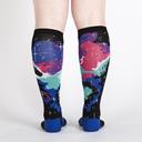 model rear view of Horsehead Nebula - Horse Galaxy Knee High Socks Black - Women's