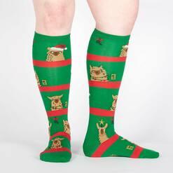 model wearing Fa La La Llamas - Holiday Llamas Decorating Knee High Socks Green - Women's