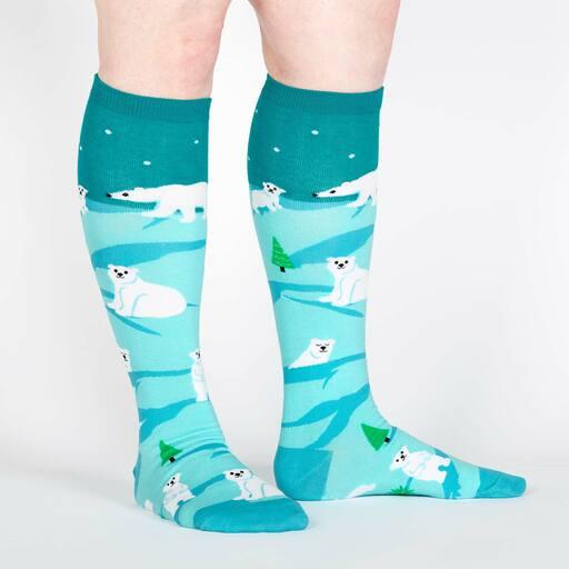 model wearing Polar Bear Stare - Cute Polar Bear Knee High Socks Blue - Women's