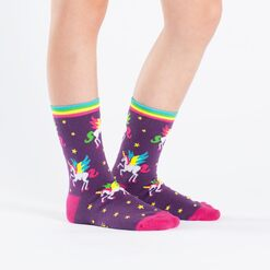 model side view of Winging It - Unicorn Crew Socks Purple - Junior