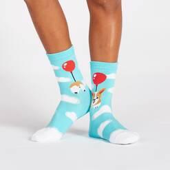 model wearing Pup, Pup, and Away - Corgi Dog Crew Socks Blue - Junior