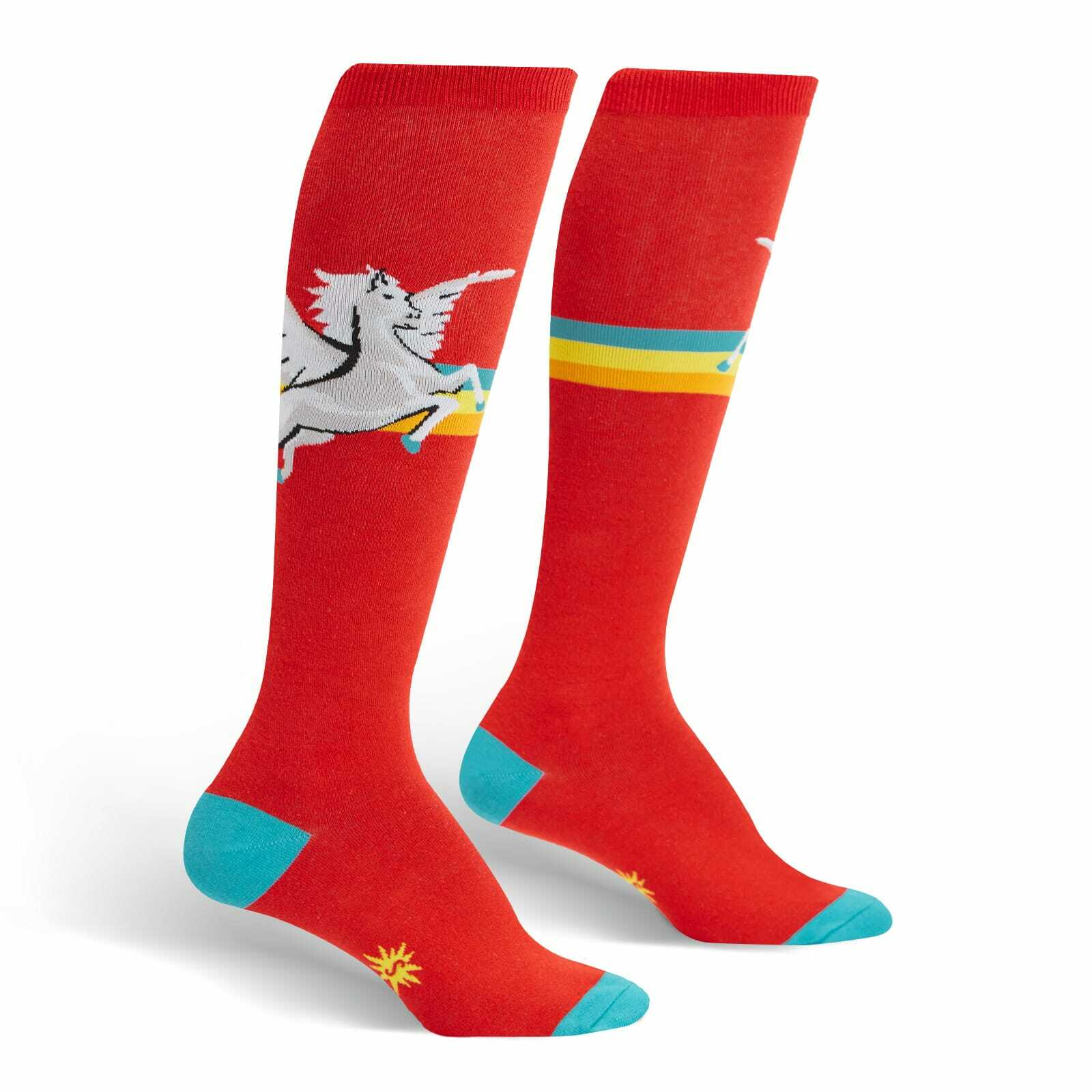 Retro Pegasus - Striped Horse Red Women's Knee High Socks - Sock It to Me in Red