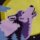 fabric detail of 6 Wolf Moon - Howling Wolf Forest Knee High Socks Black - Women's