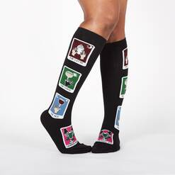 model wearing Daily Tarot - Hot and Cold Drink Card Knee High Socks Black - Women's