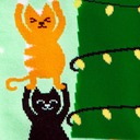 fabric detail of Naughty or Nice? - Winter Cats Decorating Christmas Tree Snow Knee High Socks Green - Women's