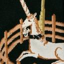fabric detail of Unicorn in Captivity - Unicorn Tapestries Painting Knee High Socks Black - Women's