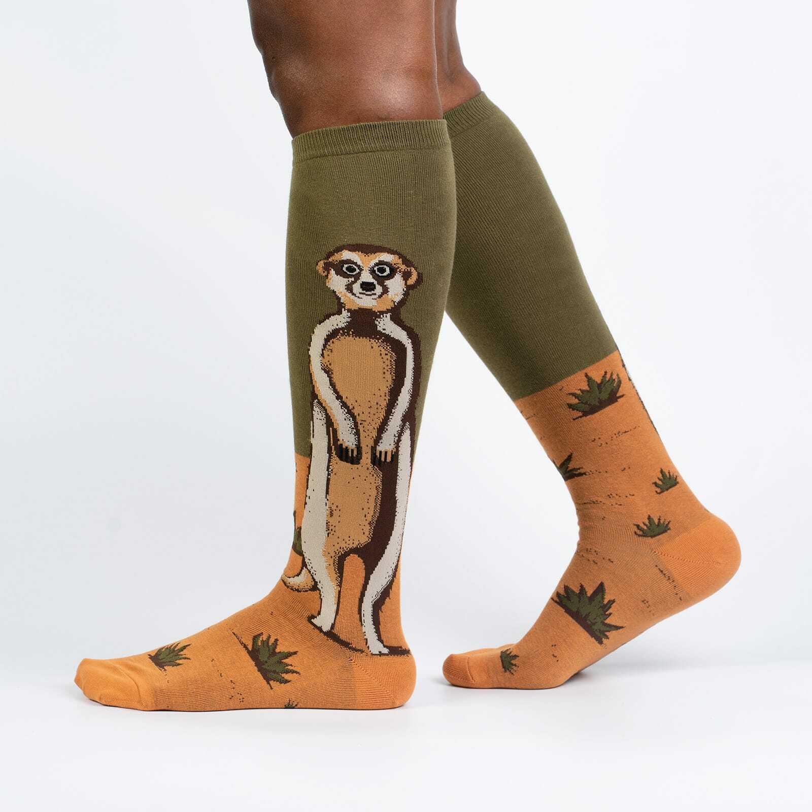 Meerkate Manner - Cute Funny Animal Knee High Socks Unisex - Men's and Women's in Orange