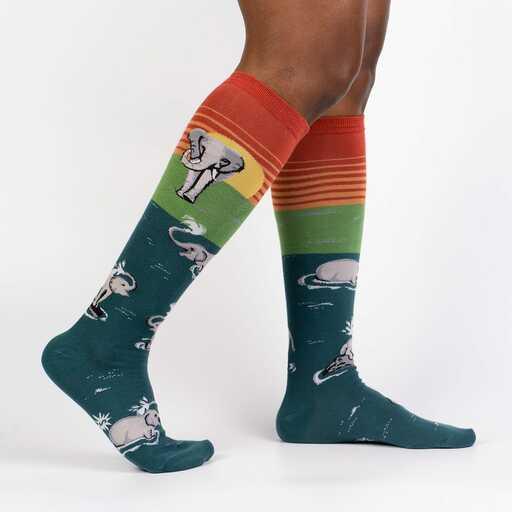 Make A Splash - Elephant Jungle Animal Knee High Socks Unisex - Men's and Women's in Turquoise