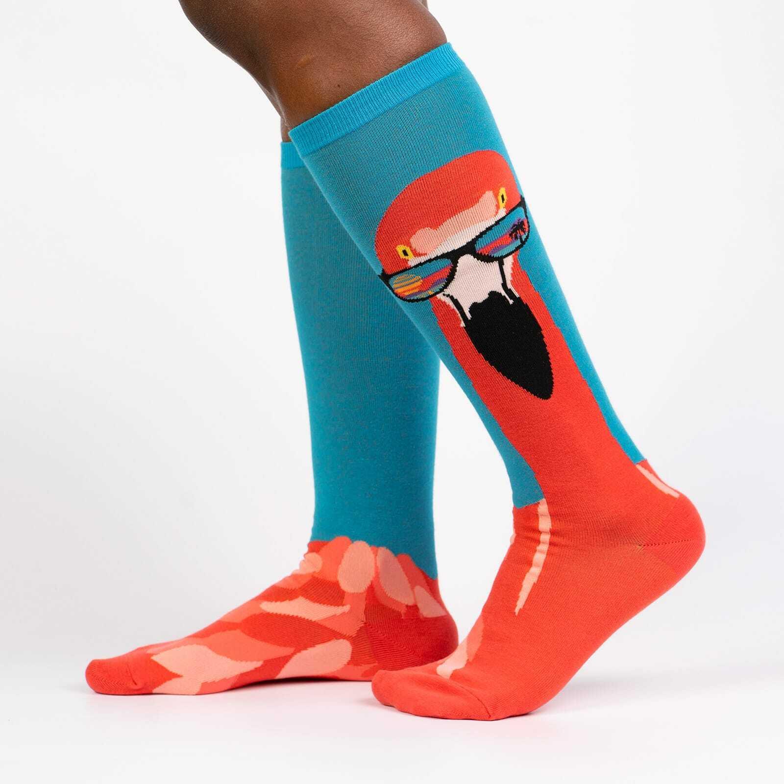 Ready to Flamingle - Flamingo Fun Animal Knee High Socks Unisex - Men's and Women's in Blue