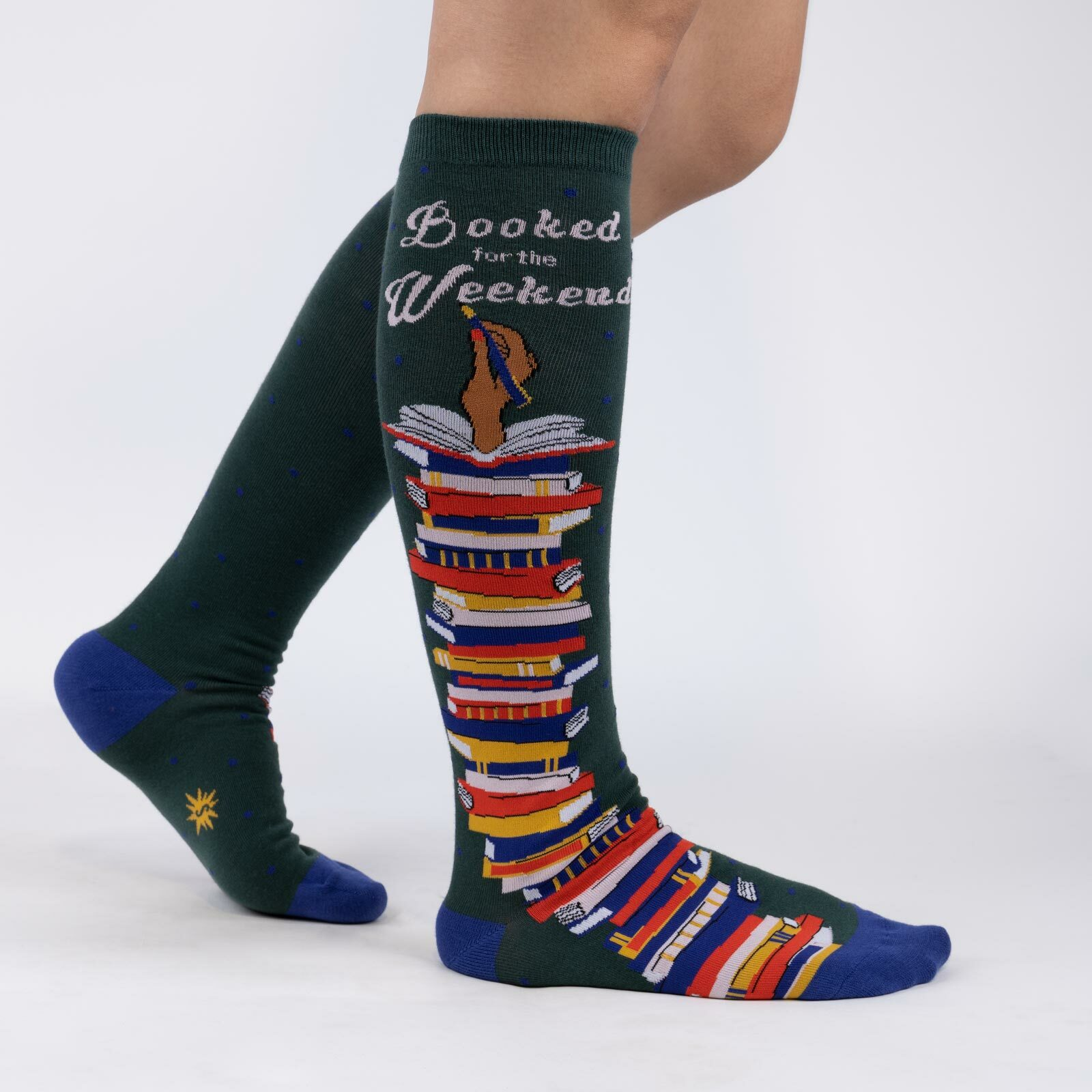 model wearing Booked for the Weekend - Reading Knee High Socks Green - Women's