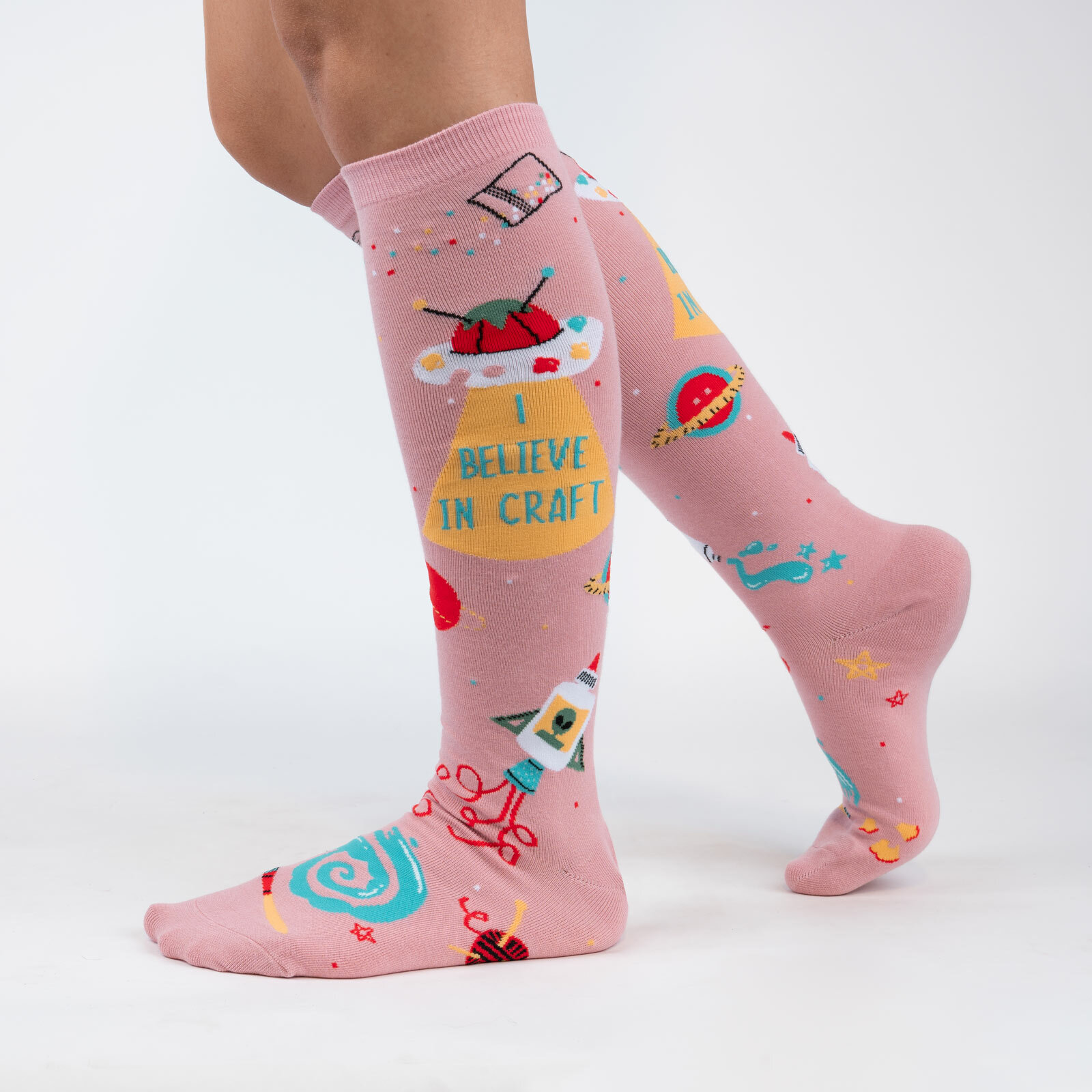 model wearing I Believe in Craft - Arts and Crafts Knee High Socks Pink - Women's