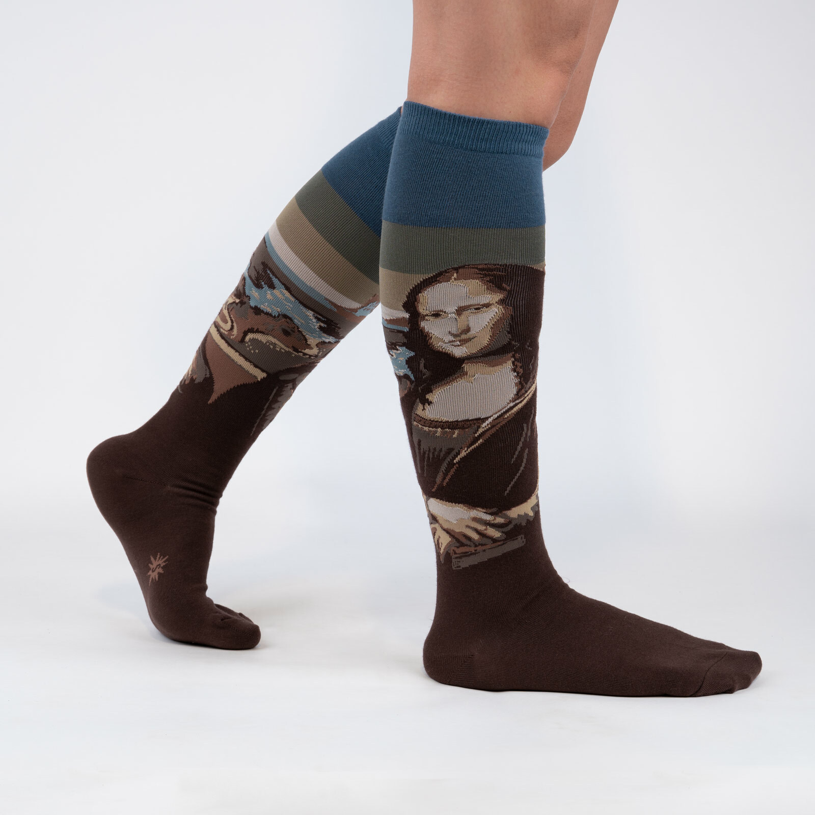 model wearing Mona Lisa - Fine Art Leonardo Da Vinci Knee High Socks Brown - Women's