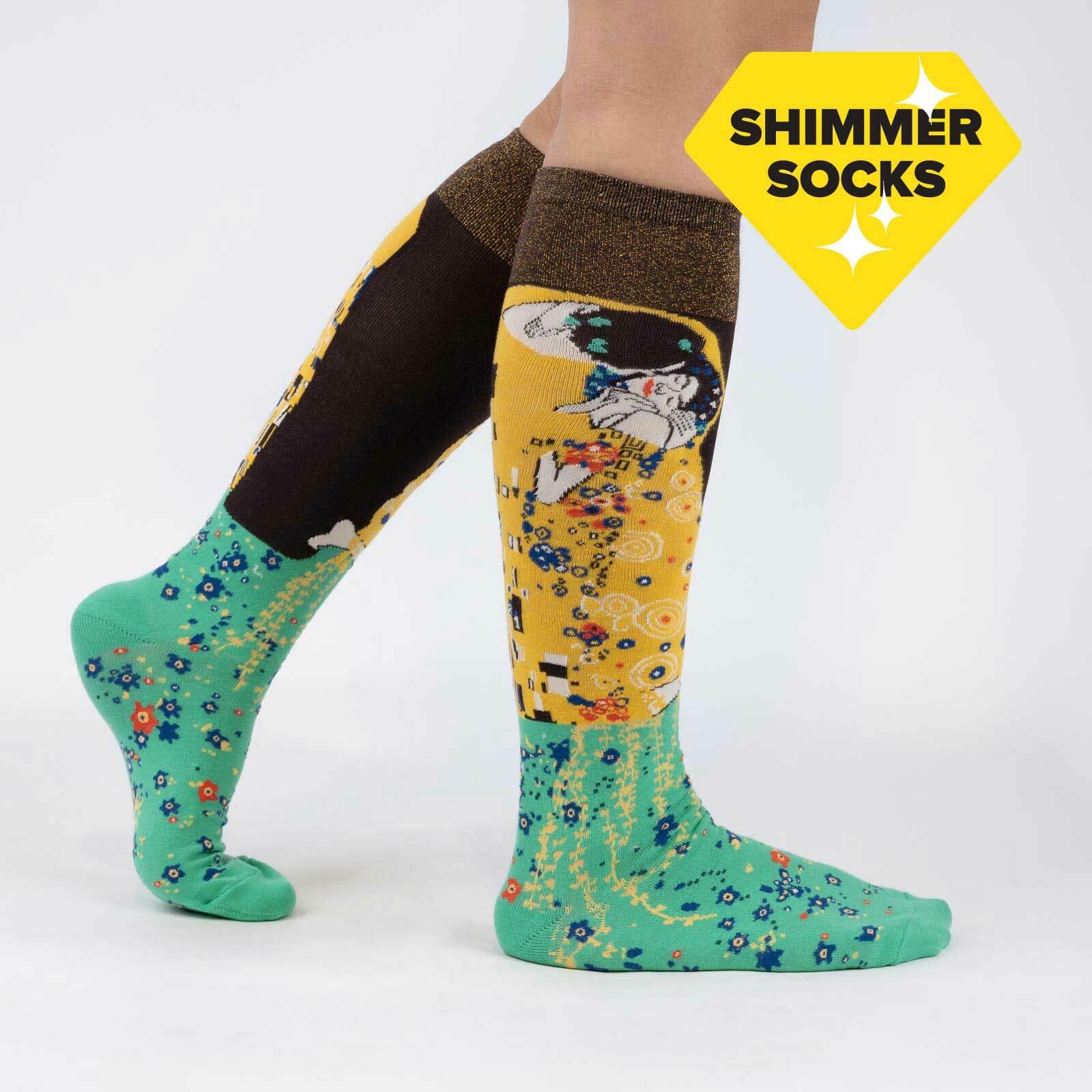 model wearing The Kiss - Fine Art Gustav Klimt Knee High Socks Yellow - Women's