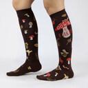 model wearing Down To Earth - Mushroom Nature Knee High Socks Brown - Women's