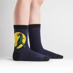 model side view of T-Rex -Dinosaur Crew Socks - Junior