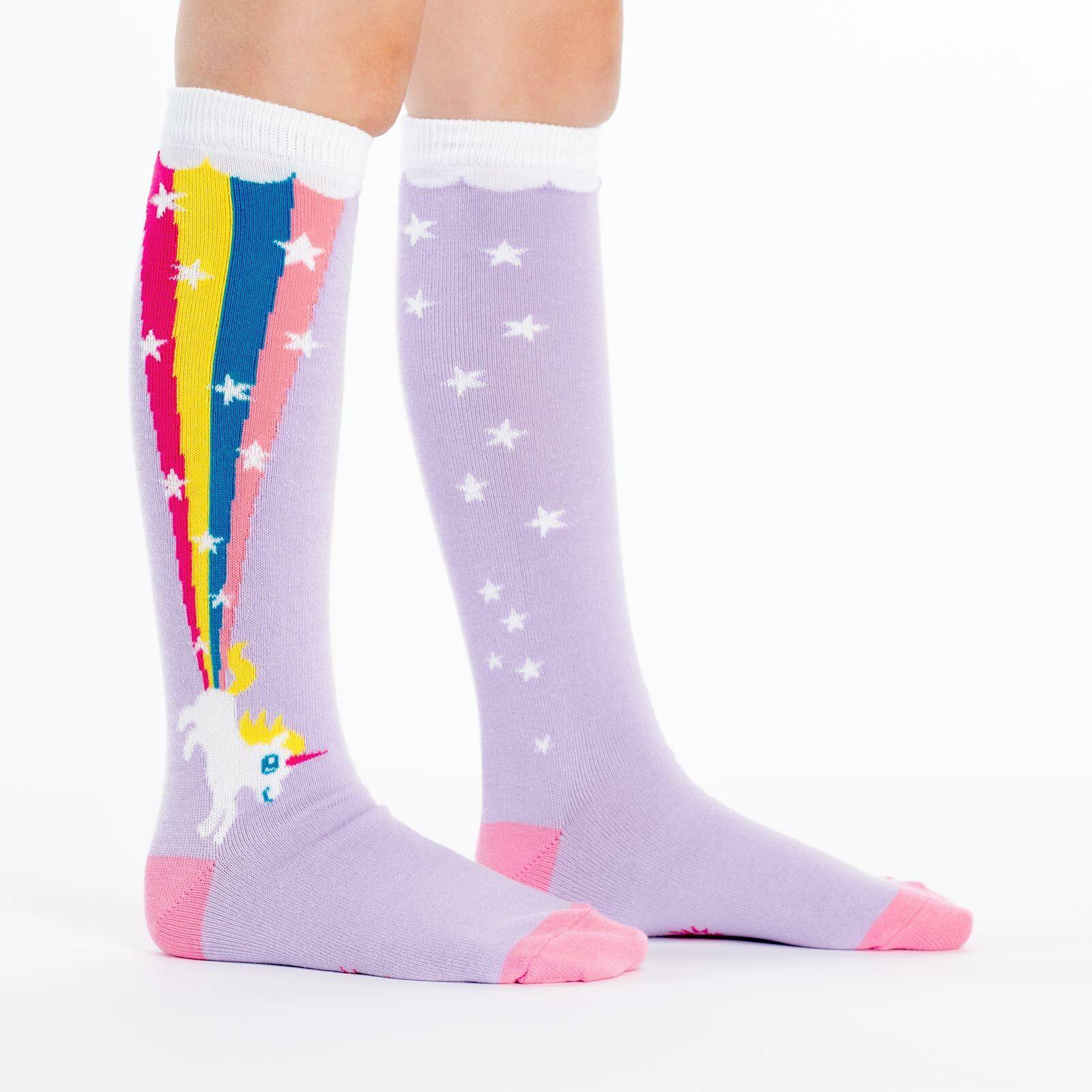 model side view of Rainbow Blast - Rainbow Unicorn Socks - Junior
