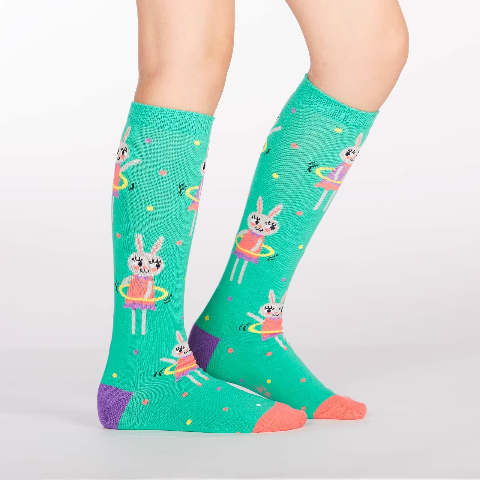 model side view of Spring Bunny - Bunny Knee High Socks Green - Junior