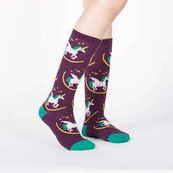 model wearing Wish upon a Pegasus - Flying Unicorn Pegasus Knee High Socks Purple - Junior's