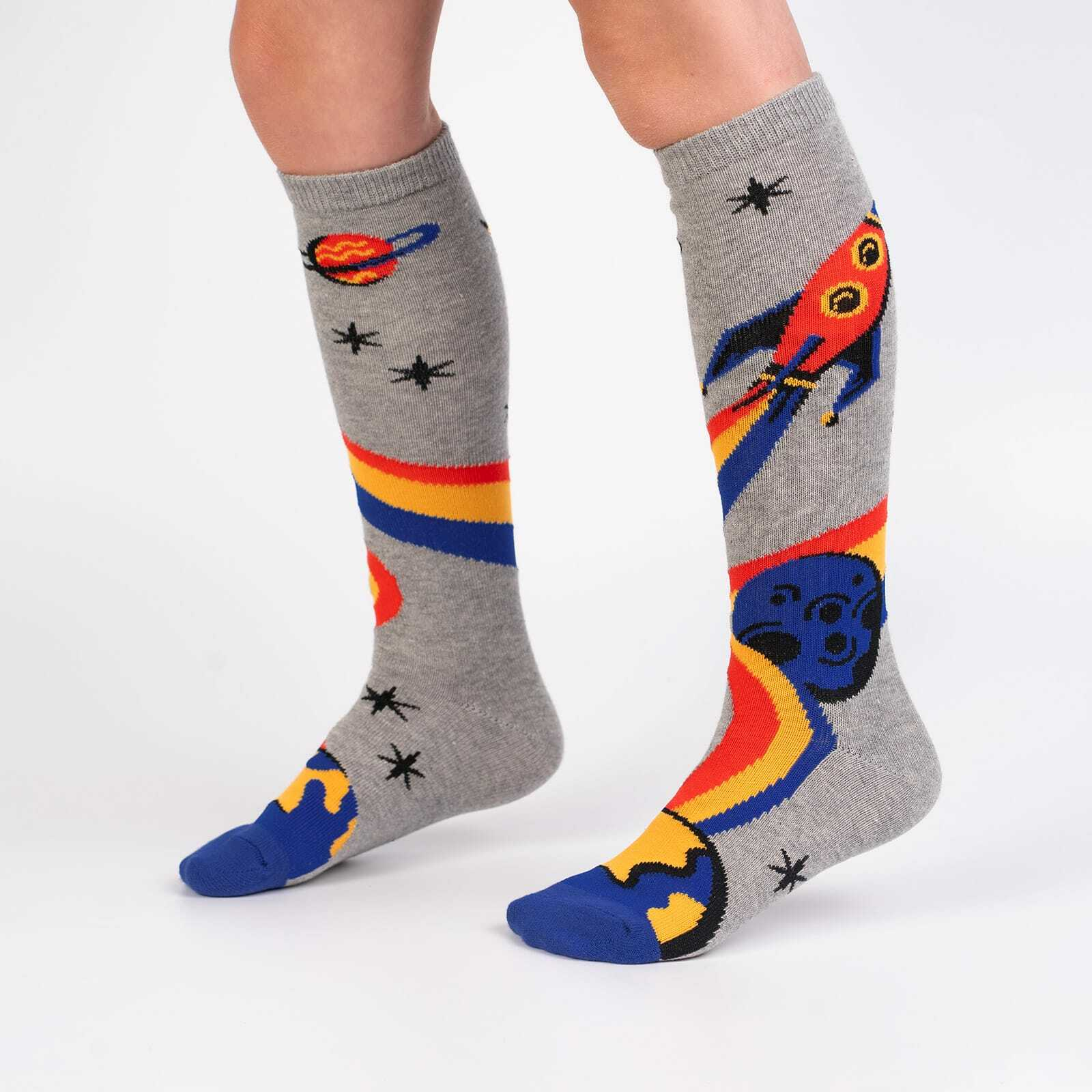 A Trip to the Moon - Rocket Ship Outer Space Knee High Socks for Kids- Juniors in Grey