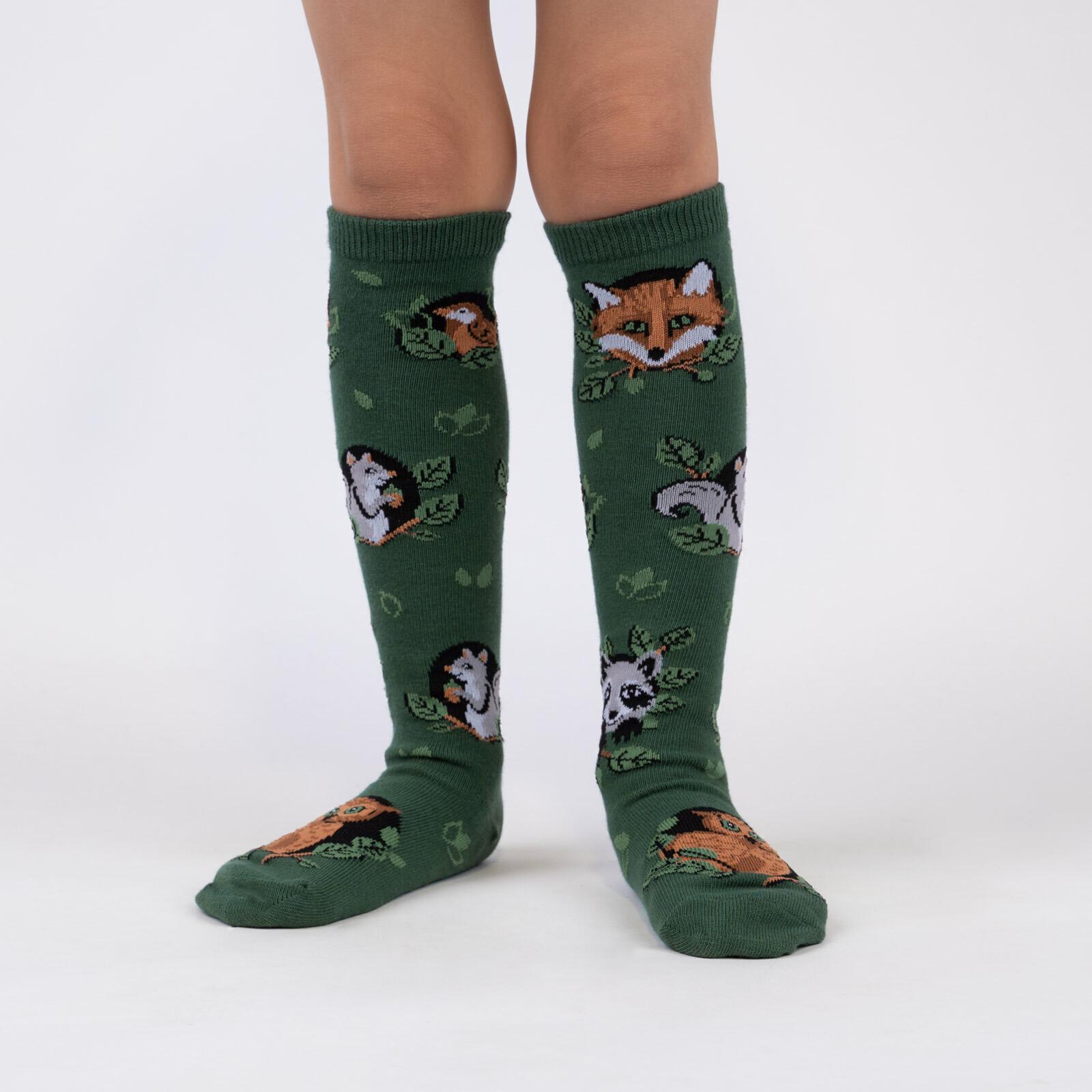 model wearing Woodland Watchers - Adorable Nature Animals Knee High Socks Green - Junior