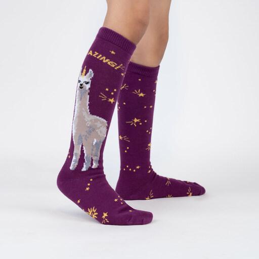 model wearing Llamazing! - Magical Llama Knee High Socks Purple - Junior