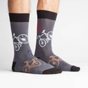 model side view of Large Bikes - Bike Crew Socks Black and Red - Men's