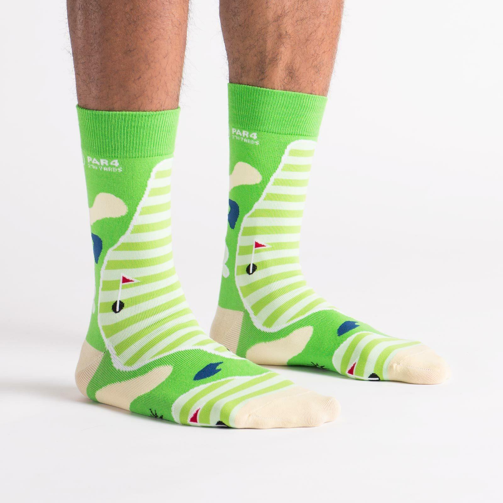 model side view of Par-4 - Golf Crew Socks Green - Men's