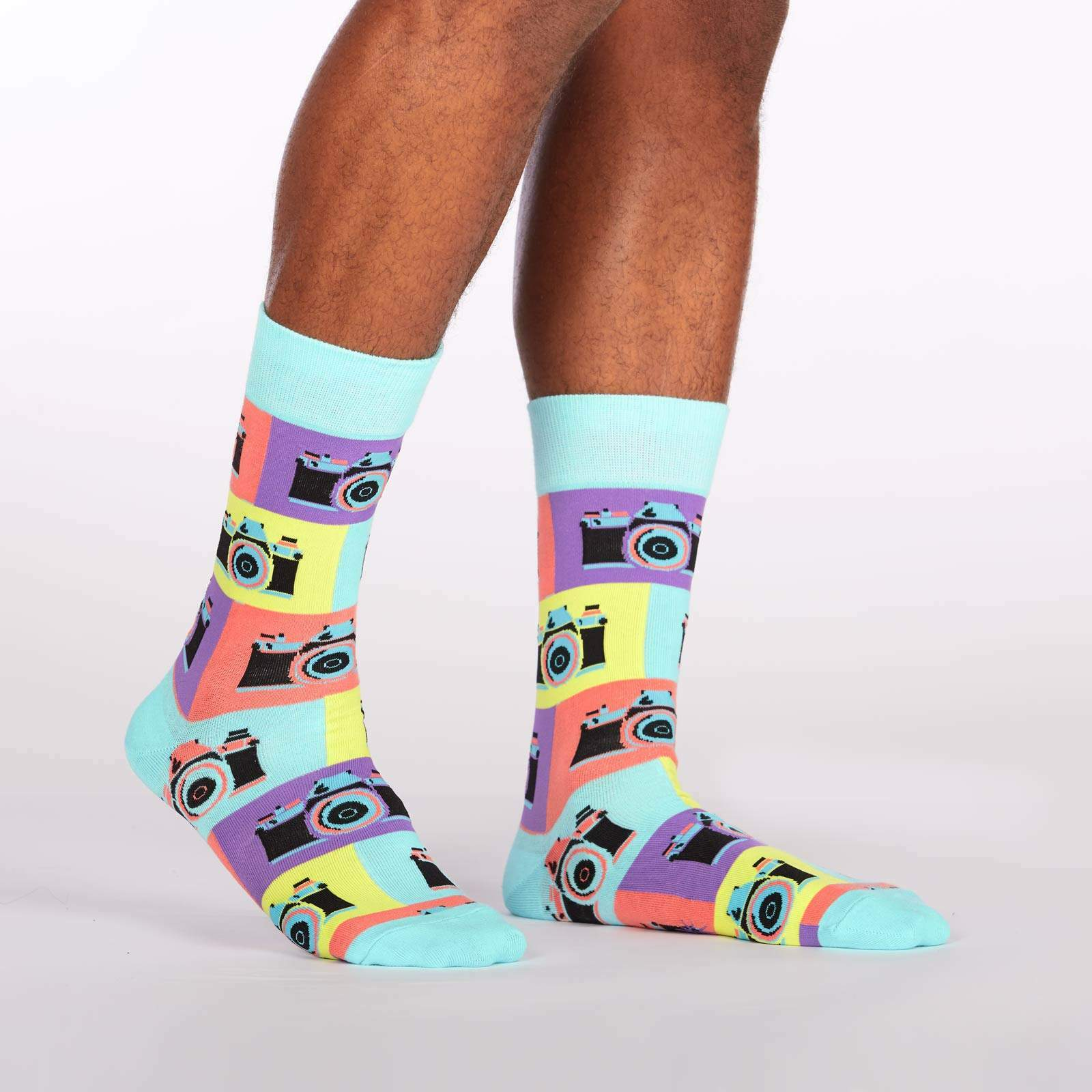 model side view of Say Cheese! - Retro Camera Crew Socks - Men's