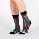 model wearing Launch from Earth - Rocket Crew Socks Blue and Red - Men's