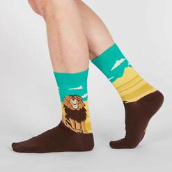 model wearing You Rule - Lion Pride Crew Socks Blue and Yellow- Men's