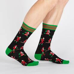 model wearing Santa Run - Santa Claus Holiday Marathon Crew Socks Black - Men's