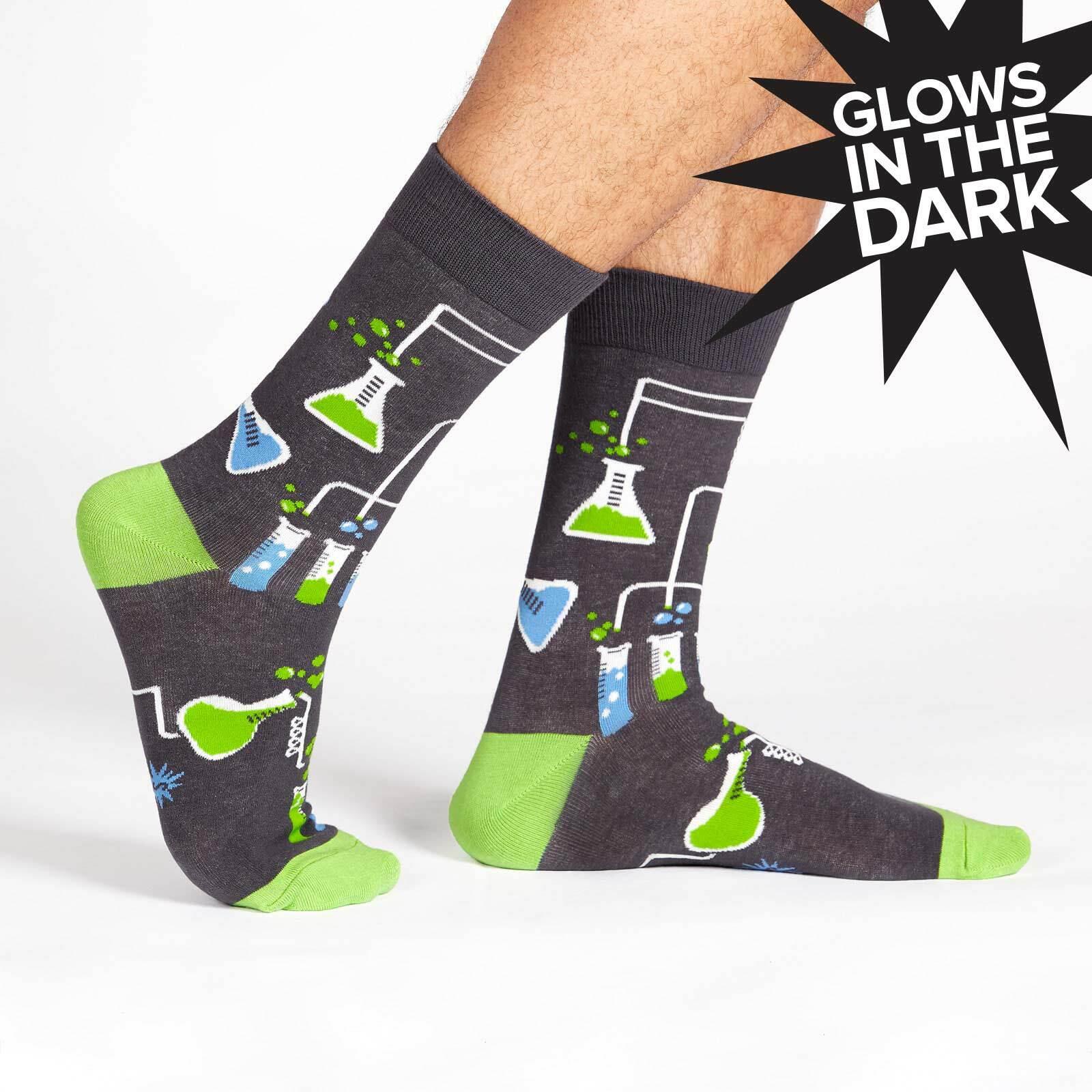 model wearing Laboratory Crew Socks - Glow In The Dark - Men's