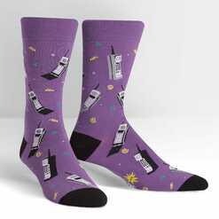 Phoney Business - Old Brick Phone Funny Purple Men's Crew Socks - Sock It to Me in Purple