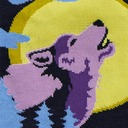 fabric detail of 6 Wolf Moon - Howling Wolf Forest Crew Socks Black - Men's
