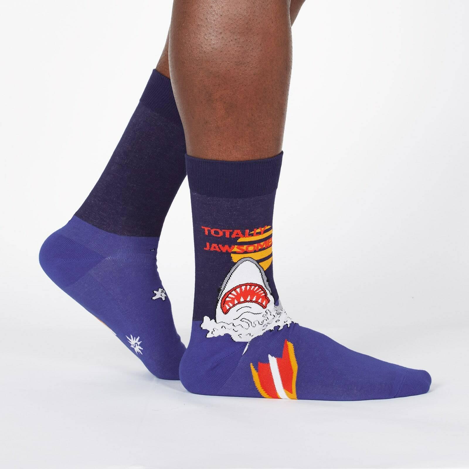 model wearing Totally Jawsome! - Great White Shark Crew Socks Blue - Men's