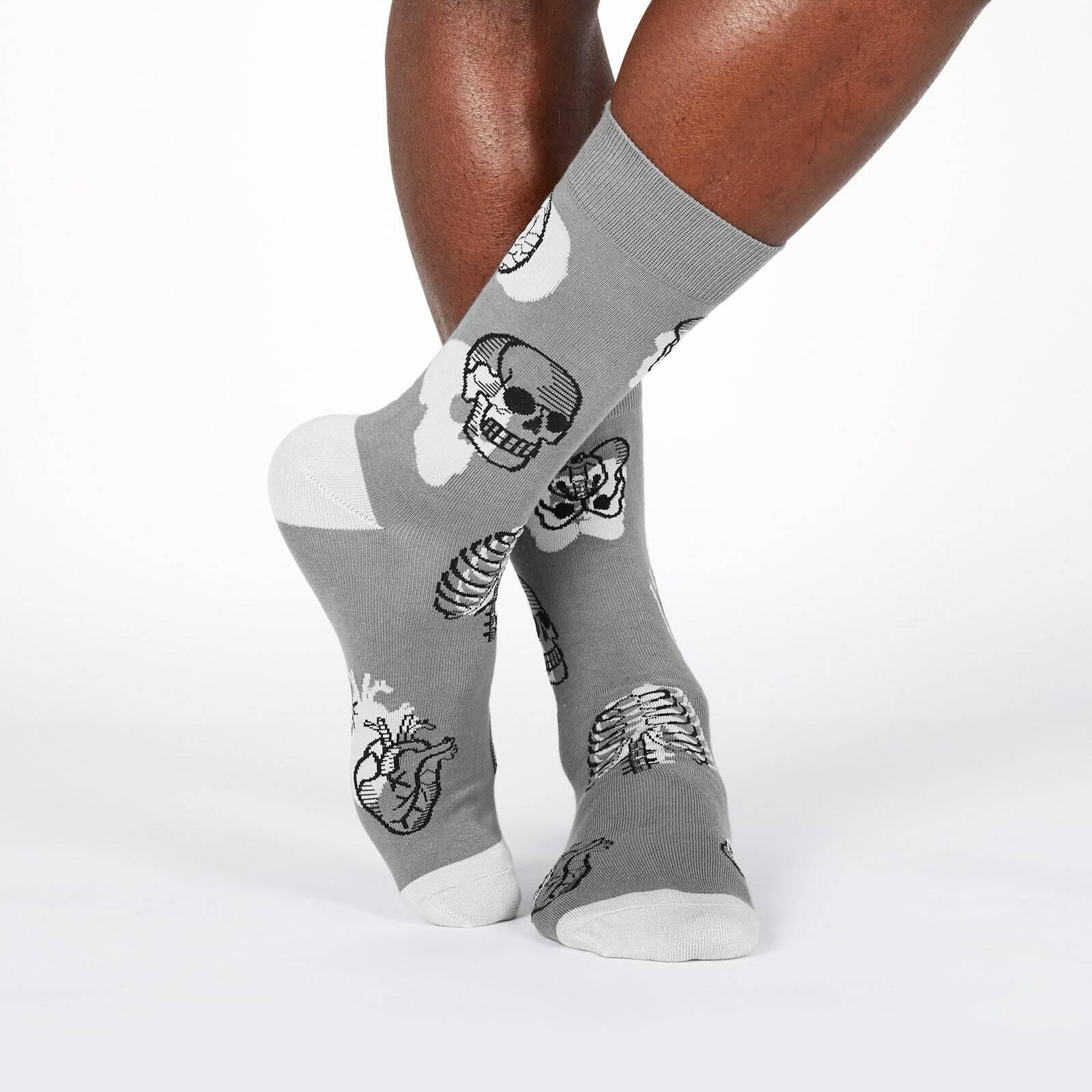 model wearing Head Over Heel - Human Anatomy Crew Socks Grey - Men's